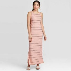 NWT A New Day Maxi Dress Small Ribbed Pink Stripe